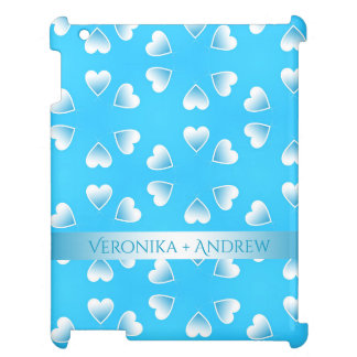 Pretty small blue hearts. Add your own text. iPad Cover