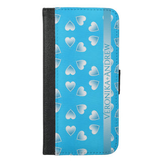 Pretty small blue hearts. Add your own text. iPhone 6/6s Plus Wallet Case