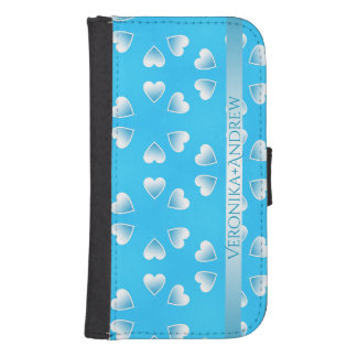 Pretty small blue hearts. Add your own text. Samsung S4 Wallet Case