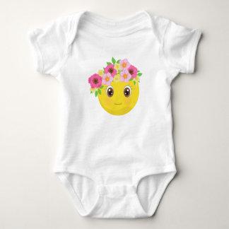 Pretty Smiley Emoji with Flowers Baby Bodysuit