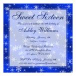Pretty Snowflakes Blue Winter Wonderland Sweet 16 Custom Invite
