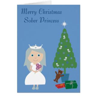 Pretty Sober Princess & Tree Blue Christmas Card