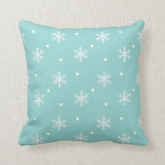 Pretty Soft Blue Snowflake Pattern Holiday Pillow