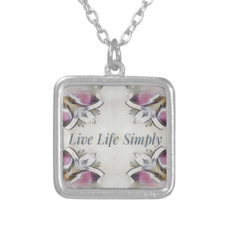 Pretty Soft Rose Colored Lifestyle Quote Silver Plated Necklace