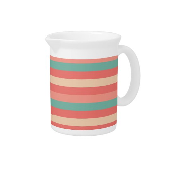 Pretty Southwestern Teal and Rose Striped Pattern Pitchers