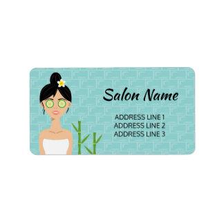 Pretty Spa Woman Illustration & Custom Salon Info Label