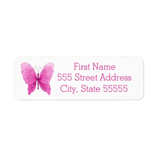 Pretty Sparkle Pink Butterfly Return Address Label