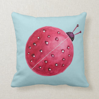 Pretty Spherical Abstract Watercolor Ladybug Throw Pillow