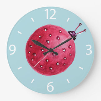 Pretty Spherical Abstract Watercolor Ladybug Wall Clocks