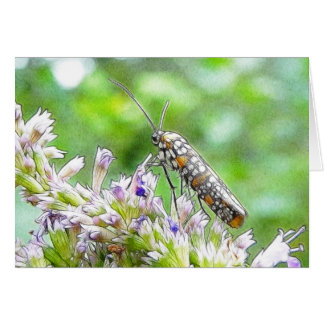 Pretty Spotted Ermine Moth on Agastache Greeting Card