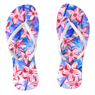 Pretty Spring Blossom Watercolour Flip Flops