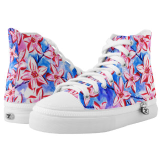 Pretty Spring Blossom Watercolour High Top Shoes