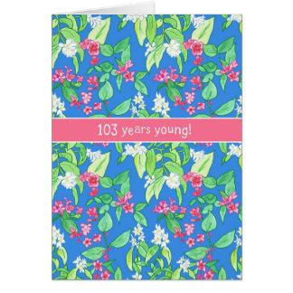 Pretty Spring Blossoms on Blue 103rd Birthday Card