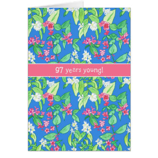 Pretty Spring Blossoms on Blue 97th Birthday Card