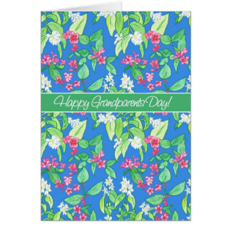 Pretty Spring Blossoms on Blue Grandparents Day Card