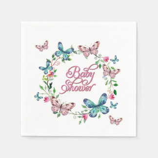 PRETTY SPRING FLORAL BUTTERFLY WREATH BABY SHOWER PAPER NAPKIN