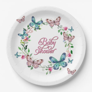 PRETTY SPRING FLORAL BUTTERFLY WREATH BABY SHOWER PAPER PLATE