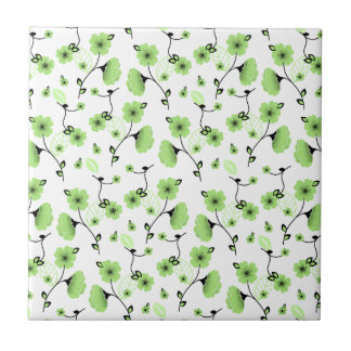 Pretty Spring Floral Pattern with Green Flowers Ceramic Tile