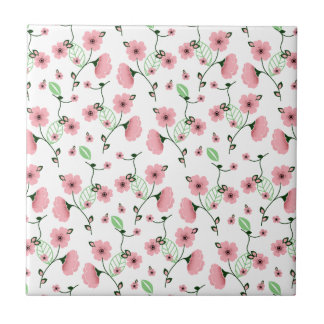 Pretty Spring Floral Pattern with Pink Flowers Ceramic Tile