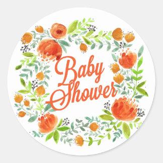 PRETTY SPRING FLORAL WREATH BABY SHOWER CLASSIC ROUND STICKER