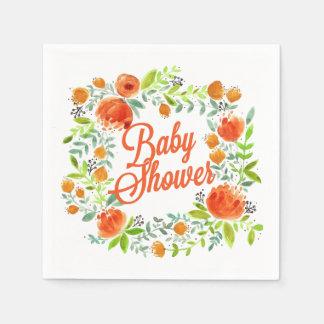 PRETTY SPRING FLORAL WREATH BABY SHOWER PAPER NAPKIN
