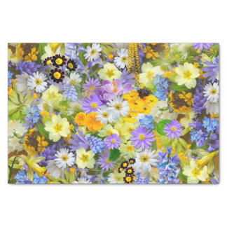 Pretty Spring Flowers Collage Tissue Paper