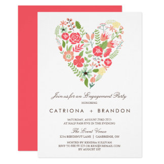 PRETTY SPRING FLOWERS ENGAGEMENT PARTY INVITATION