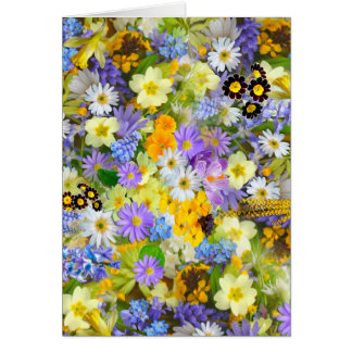 Pretty Spring Flowers Lush Colorful Bouquet Design Card
