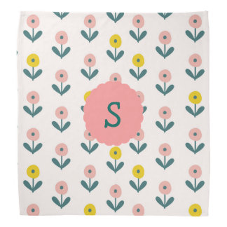 Pretty Spring Flowers With Initial Bandana