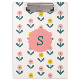 Pretty Spring Flowers With Initial Clipboard
