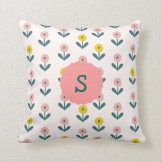Pretty Spring Flowers With Initial Cushion