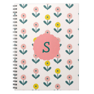 Pretty Spring Flowers With Initial Notebook