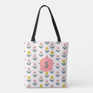 Pretty Spring Flowers With Initial Tote Bag