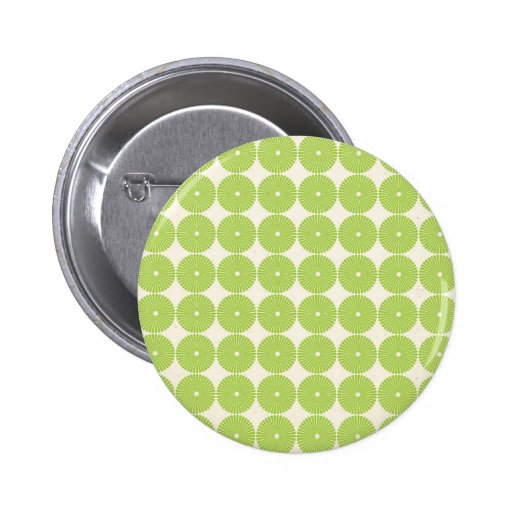 Pretty Spring Green Girly Circles Disks Pattern Buttons