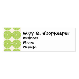 Pretty Spring Green Girly Circles Disks Pattern Business Cards