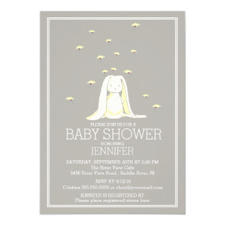 Pretty Spring Yellow Neutral Bunny Baby Shower 13 Cm X 18 Cm Invitation Card