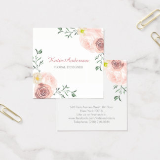 Pretty Square Watercolour Floral Business Cards