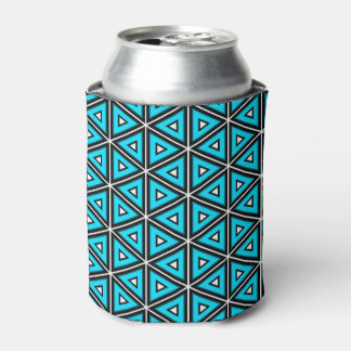 Pretty Square White, Black and Turquoise Pattern Can Cooler