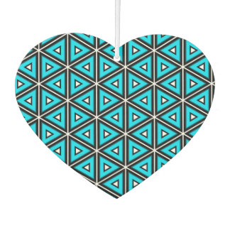 Pretty Square White, Black and Turquoise Pattern Car Air Freshener