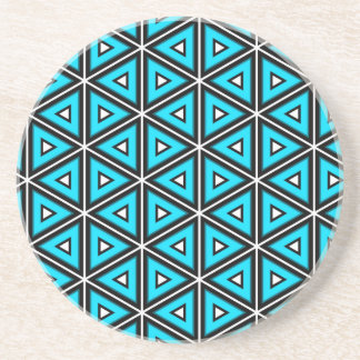 Pretty Square White, Black and Turquoise Pattern Coaster