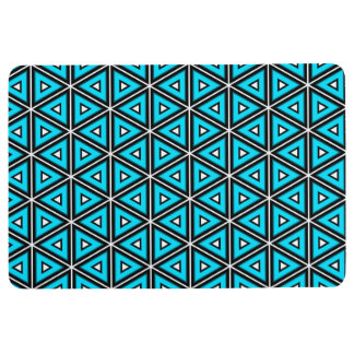 Pretty Square White, Black and Turquoise Pattern Floor Mat
