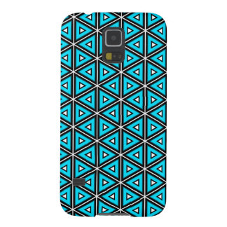 Pretty Square White, Black and Turquoise Pattern Galaxy S5 Case