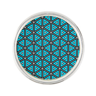 Pretty Square White, Black and Turquoise Pattern Lapel Pin