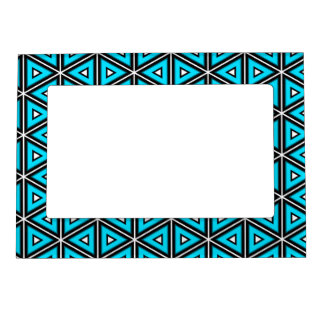 Pretty Square White, Black and Turquoise Pattern Magnetic Frame
