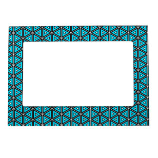 Pretty Square White, Black and Turquoise Pattern Magnetic Picture Frame