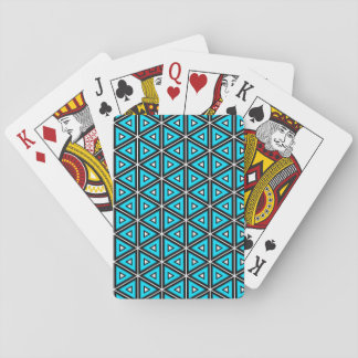Pretty Square White, Black and Turquoise Pattern Playing Cards