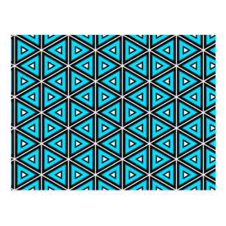 Pretty Square White, Black and Turquoise Pattern Postcard