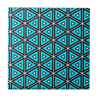 Pretty Square White, Black and Turquoise Pattern Tile