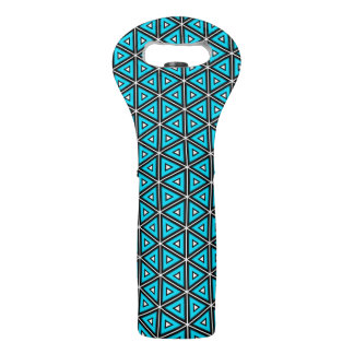 Pretty Square White, Black and Turquoise Pattern Wine Bag