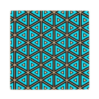 Pretty Square White, Black and Turquoise Pattern Wood Coaster
